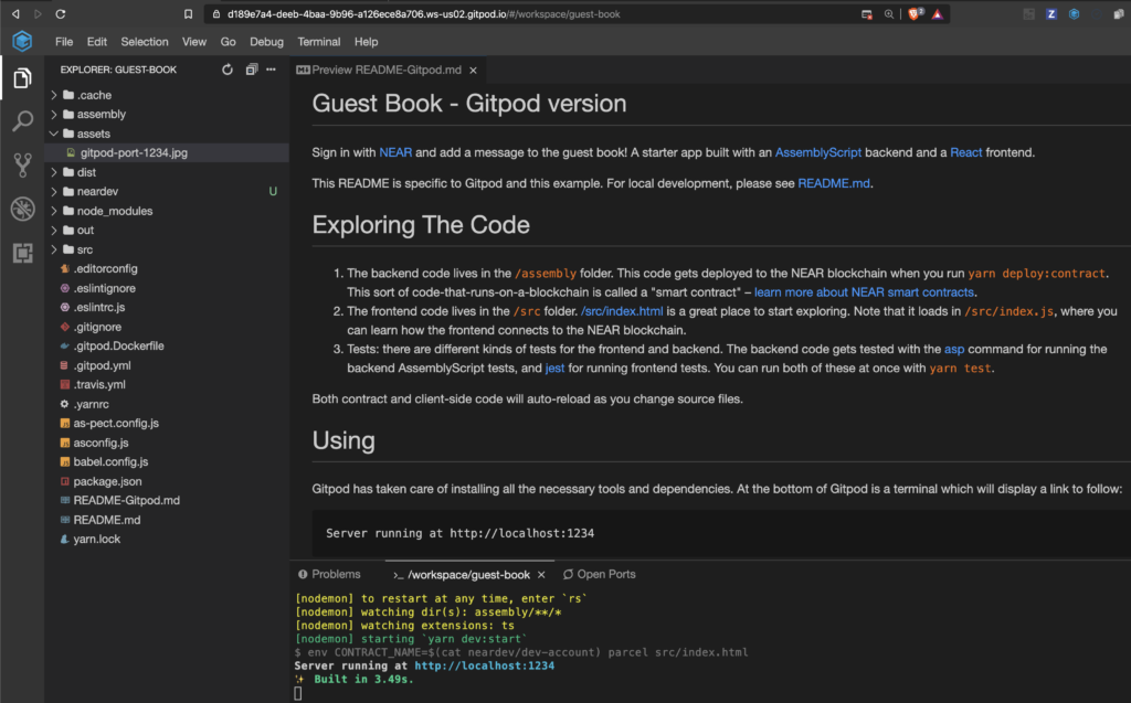 Gitpod IDE showing code for the Guest Book example