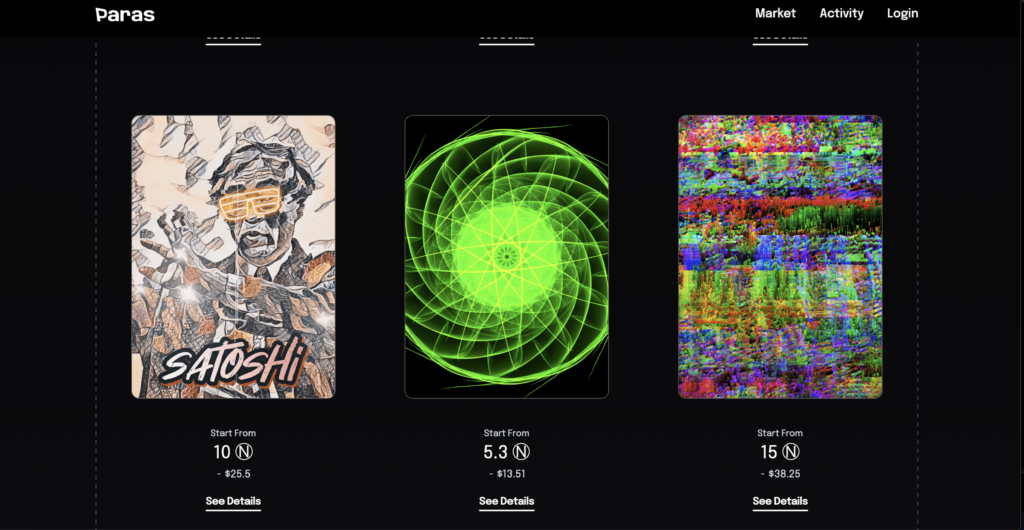 examples of three digital trading cards